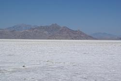 Bonneville Salt Flats as seen from Interstate 80 in Utah, USA