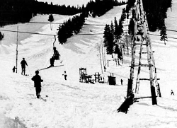 The ski lift at Snow Park (now Deer Valley) in the 1940s