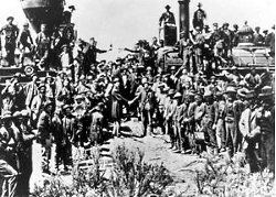 Driving the golden spike ceremony at Promontory Summit, Utah on May 10, 1869, Courtesy of the US National Park Service
