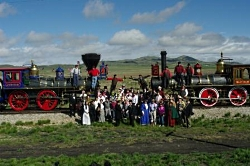 Reinactment of the golden spike ceremony at Promontory Summit, Utah on May 10, 2014, Utah. Photo Courtesy US NPS