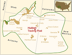 Location of Hubbell Trading Post NHS in the Southern Colorado Plateau Network,  Courtesy US NPS
