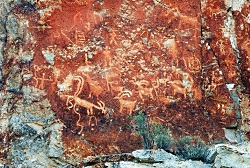 Click to view Petroglyph Panel at the Fremont Indian State Park & Museum, Photo Courtesy Sevier County, Kreig Rasmussen, Photographer