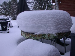 Utah snow in author's backyard: relatively light and dry--and definitely deep, Photo Copyright 2010 Holly Strand