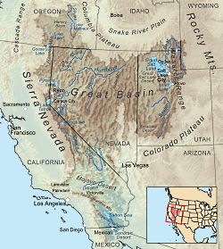 Map delineating the Great basin