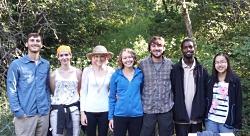 Bird Banding Red Butte Canyon: Volunteers and members of the Şekercioğlu lab who run the bird banding station in Red Butte Canyon. From left to right: Kyle Mika, Jennifer Bridgeman, Kylynn Clare, Anna Vickrey, JJ Horns, Ahmed Bwika, and Patricia Gao.