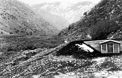 Concrete equalizing reservoir for North Logan Waterworks at the Mouth of Green Canyon, circa 1935. Photo: Utah State University Special Collections and Archives