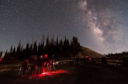The southern Milky Way visible during a star party at Cedar Breaks National Monument. We use red lights on the telescopes during star parties to help preserve night vision. Courtesy US NPS, Zach Schierl, Photographer