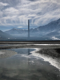 Mirabilite Springs in the shadow of the Kennecott Smelter stack Courtesy & © Mary Heers, Phorographer
