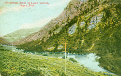 Color enhanced photo 1910 photo of Logan Canyon Courtesy Logan Library