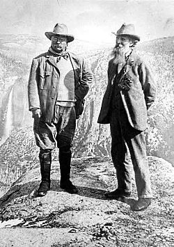 Majestic Yosemite: Roosevelt and Muir at Glacier Point President Teddy Roosevelt and John Muir standing on rock at Glacier Point, Yosemite, May 1903; Yosemite Falls and cliffs of Yosemite Valley in distance. [RL012904] Courtesy US NPS