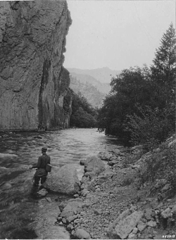 Man fly-fishing in Logan River, Logan Canyon, Utah, July 21, 1937. Courtesy of USU Digital History Collections.